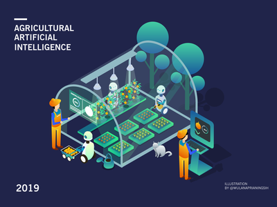 Agricultural Artificial Intelligence debut artificial intelligence artificialintelligence agricultural illustration isometric design isometric