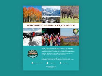 Grand Lake Chamber Magazine Ad print design print ad colorado grand lake blue magazine advertisement ad poster design minimal flat design graphic design