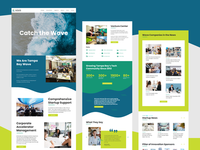 Wave Home Page website design website colorful fun tampa startup coworking home page figma wavy web design design wave