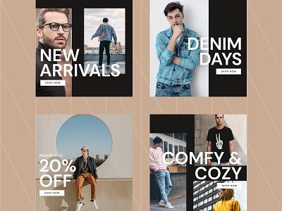 Mens Fashion Banner Ads figma mens fashion sale instagram ad facebook ad advertisement ad design banner minimalist minimal ads banner ads fashion