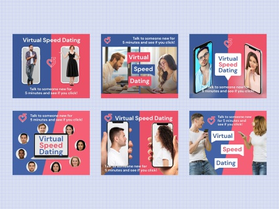 Virtual Speed Dating Ads banner ads ads social media ads virtual dating online speed figma ads design advertisement display ads facebook ad