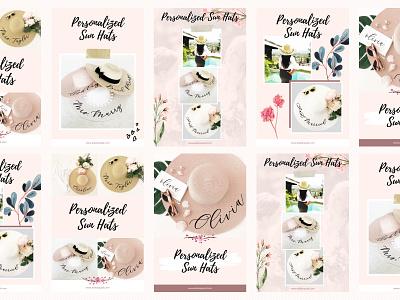 Pinterest Templates for Canva social media templates social media ads hats girly feminine dreamy pinterest canva accessories