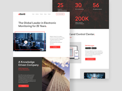 Electric Monitoring Website Design electric monitoring home page ui design ui red safety security website design website web design