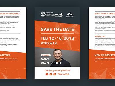 TBSW18 Flyer print event conference startup florida tampa bay tampa poster orange gary vee flyer graphic design design