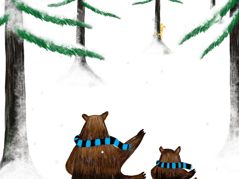 Bear and his scarf illustration scarf snow bear