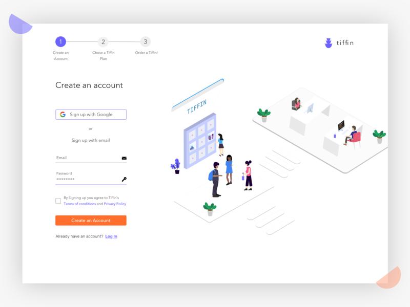 Sign Up food app minimal illustration ux ui design web design sign up clean