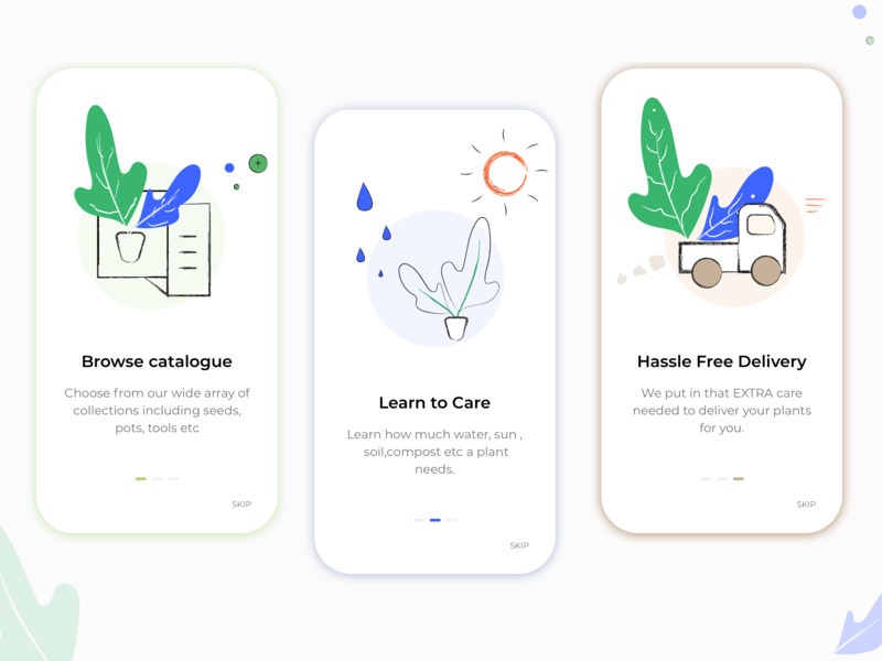 Walkthrough - Plant App app delivery care catalogue ui ux illustration plant app walkthrough intro screen