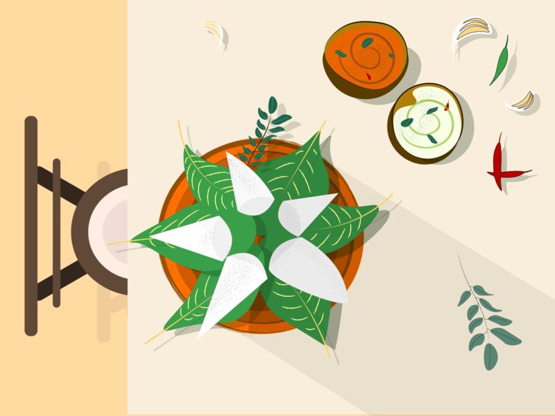 Breakfast food idli steamed breakfast vector illustration
