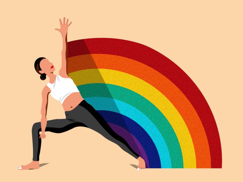 Find What Feels Good fwfg youtube yogawithadriene rainbow illustration yoga