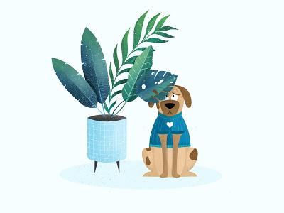 Dog life illustration animal freelance materialdesign picture flowerpot digitalart dogs home procreate ipadart ipadpro minimal blue botanic plants graphic graphicgang illustration doglife dog
