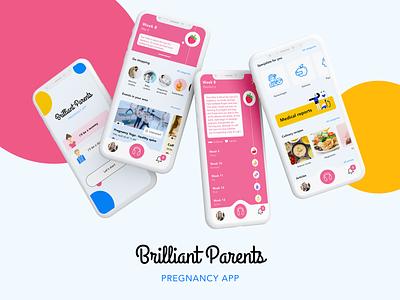 Brilliant Parents - Pregnancy App recipes events health diet digital playlist shop ecommerce pregnant pregnancy parents design ux research application colorful concept app design ui mobile