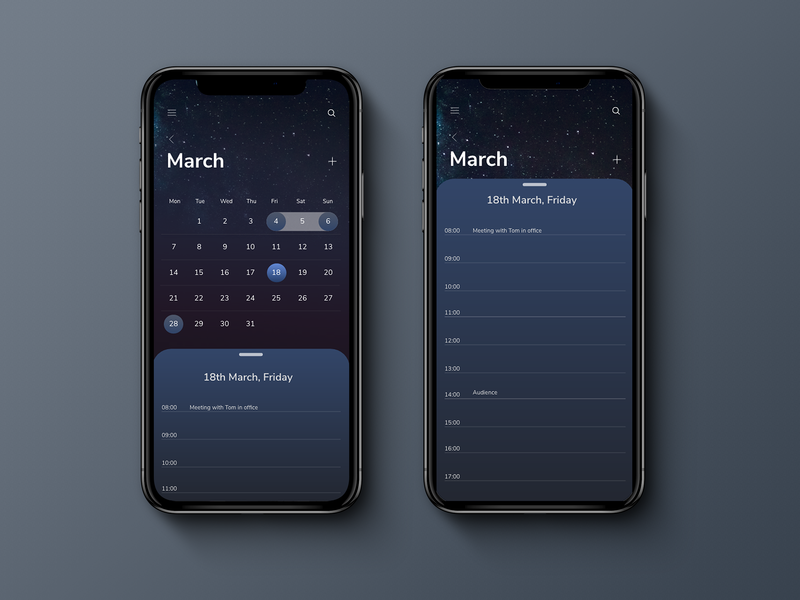 Dark calendar dark background smart planners plan day montana minimal uidesign ux designer dark art dark app interface design iphone x mobile date black ui interface calendar dark