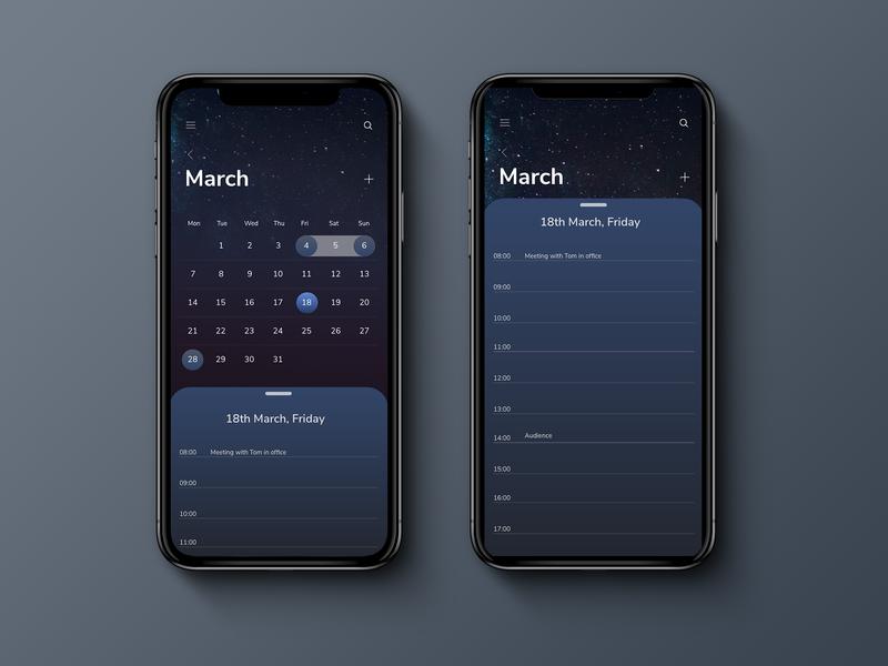 Dark calendar