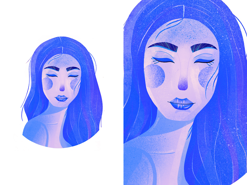 blue girl with closed eyes