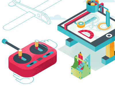 Isometric iso isometric isometria vector illustration remote airplane tools