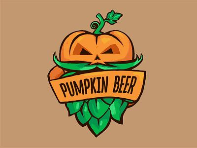 Pumpkin beer art beer emblem logo