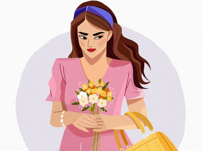 Spring magazine bag concept art spring flowers feminine design femine woman fashion editorial design costume clothes character concept character art vector illustration 2d character design