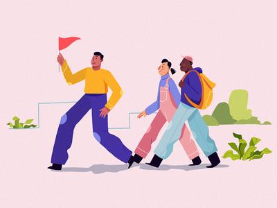 This way! comunication vera dementchouk people tech teamwork brainstorm idea branding strategy team dribbble walk adventure lead design clothes vector illustration 2d character design