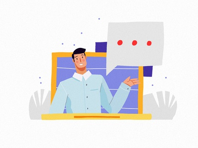 Chat people interactive user digital media web app icon ux branding work team comunication chat design ui character vector illustration 2d character design