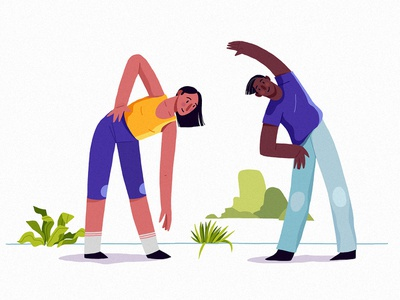 Habits enthusiasm coach aerobic growth habits digital eco couple yoga lifestyle athlete people health sport vera dementchouk design vector illustration 2d character design