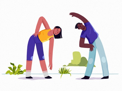Habits enthusiasm coach aerobic growth habits digital eco couple yoga lifestyle athlete people health sport vera dementchouk design vector illustration 2d character design