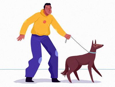 Besties friends adventure digital clothes peoples nature blogger lifestyle people enthusiasm men character walk dog vera dementchouk design vector illustration 2d character design
