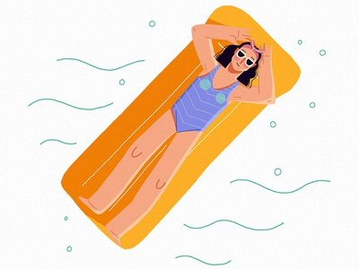 Pool Party clean femine clothes fashion simple friday digital water swimming chill pool summer design woman character vera dementchouk vector illustration 2d character design