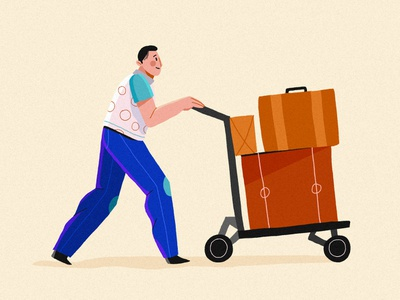 Adieu moving journey men package tourism travel booking last minute offline goodbye break rest holiday vacation vera dementchouk design vector illustration 2d character design