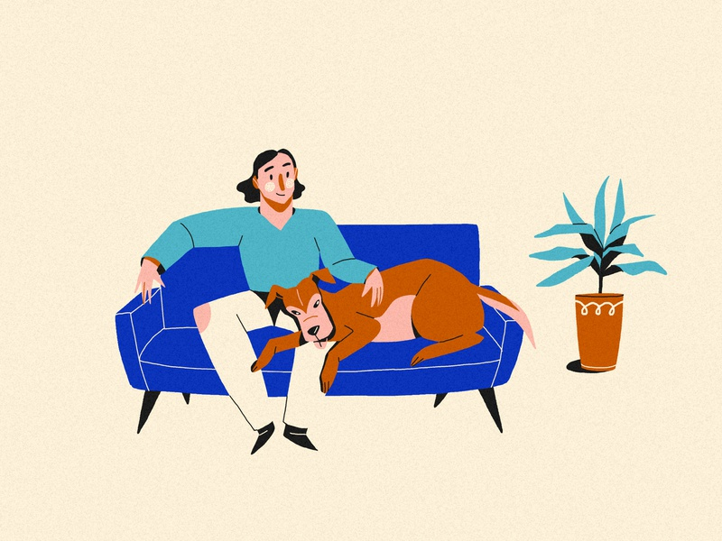 Besties #2 clothes mono plant tv chill relax home couch friends dog clean femine feminine design character vera dementchouk design vector illustration 2d character design