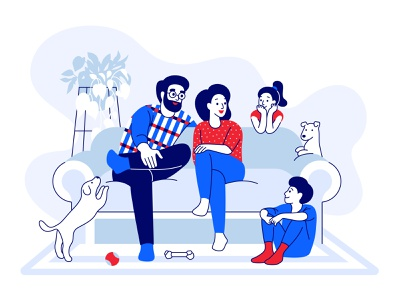 Happy family on the couch vector illustration creative daughter son brother sister father mother white background stay home fun happy interior furniture modern line art couch pets parents children family