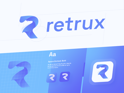 Retrux - Logo Design clean design graphic design studio design studio logo identity branding typography vector app identity app icon digital agency combination mark logo design identitydesign mobile logo construction icon symbol
