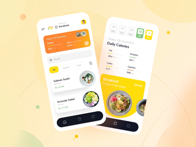 Nutria - Catering App design graphic design ux ui interface interaction user experience design studio mobile user interface mobile app mobile design food app food catering animation mobile screen mobile application application mobile ui