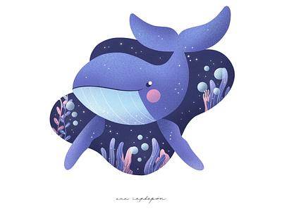 Happy little whale childrens illustration procreate animal illustration graphic design illustration flat design