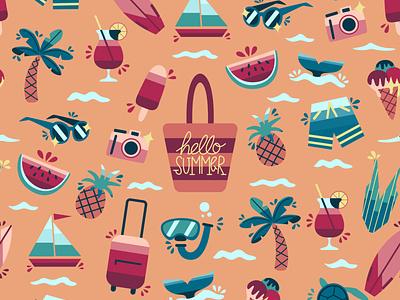 Hello Summer pattern textile pattern flat design graphic flat illustrator vector design graphic design illustration summertime