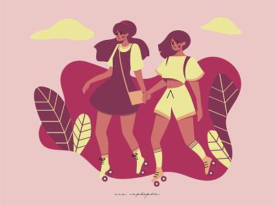 Rollerblading in the park stock illustration illustrator vector flat design graphic design illustration