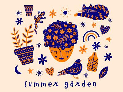 Summer garden inspiration color pattern flat design graphic minimal illustrator vector design flat graphic design illustration
