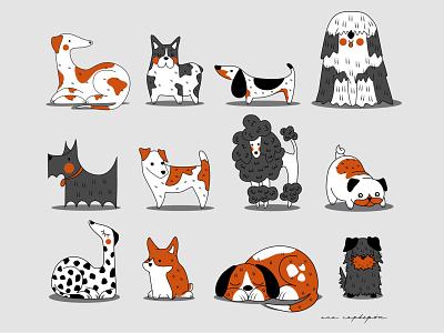 Dog set dog breeds adoption puppies pets dog set dogs digital drawing flat design animal illustration graphic minimal illustrator vector flat design graphic design illustration