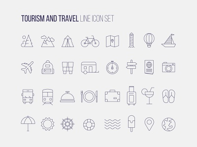 Tourism and travel icon set iconography pictogram set icon design outline tourism travel icon set pictogram icon freelance flat design graphic minimal illustrator flat vector graphic design design illustration