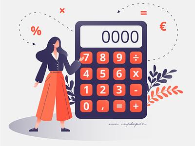 Budget and finance flat design graphic design calculator finance budget freelance illustration vector
