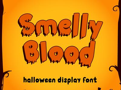 Smelly Blood - Halloween Party typography font quirky kid font cute font typeface cursive handwritten blood web spider bone pumpkin thanksgiving silhoutte horror spooky halloween