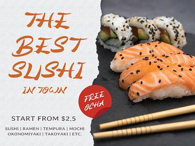 Hiany Lau - sushi advertisement poster natural type script handwriting design branding lettering typography font handwritten