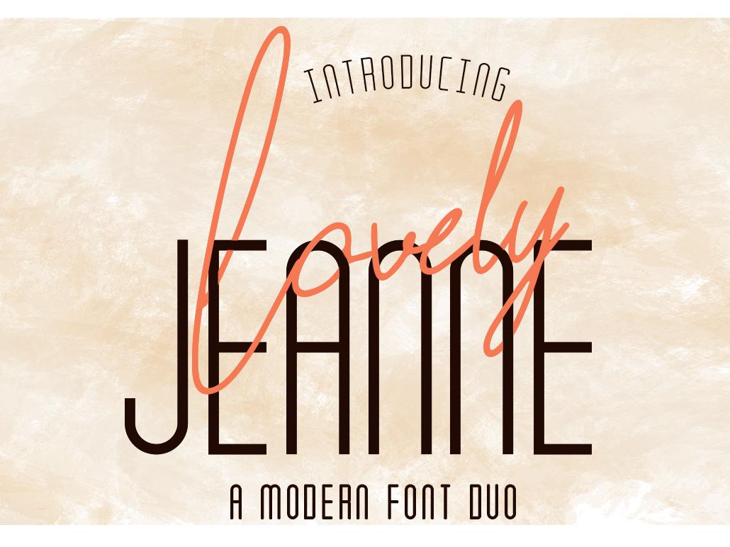 Lovely Jeanne 1 instagram font duo modern feminine classy sans serif fashion typograph script natural logo handwriting type lettering elegant design typography handwritten font branding