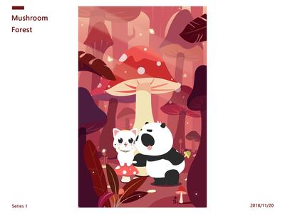 Cat and Panda-Mushroom Forest