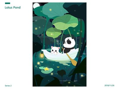 Cat and Panda-Lotus Pond