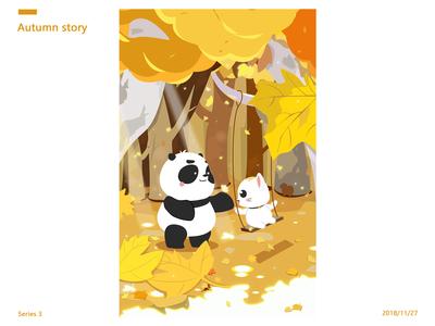 Cat and Panda-Autumn story