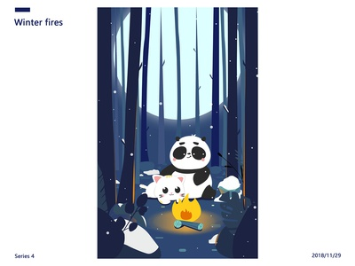 Cat and Panda-Winter fires