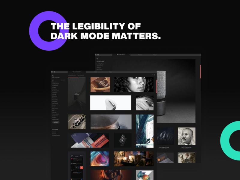the legibility of dark mode (WIP) design animated css ui
