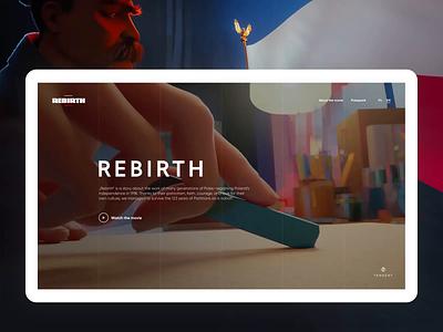 'Rebirth' movie website web design ux ui animation movie history website website design