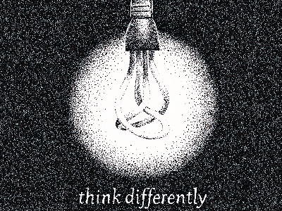 'Think Differently' Personal Ad ink illustration stipple pointillism black white pen ad personal hand lettering