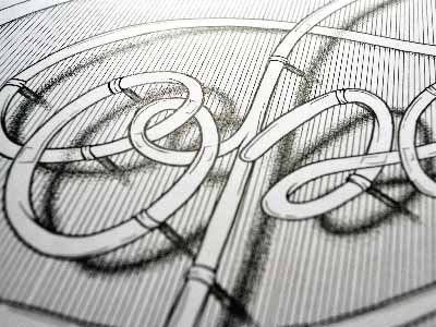 OPEN ink illustration stipple pointillism black white pen hand lettering sign open